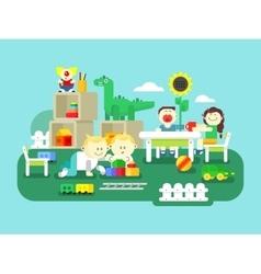 Kindergarten flat design vector image vector image