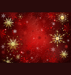 red background with gold snowflakes vector image vector image