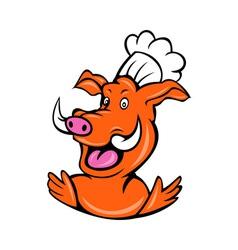 Wild pig boar hog chef cook baker arms up vector