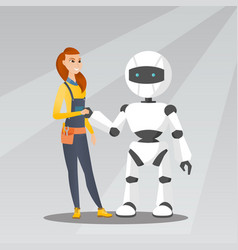 Young caucasian woman handshaking with robot vector