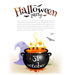 Black witches cauldron with orange brew and vector image vector image