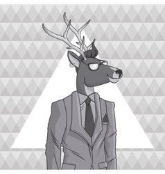 deer animal hipster style triangule background vector image