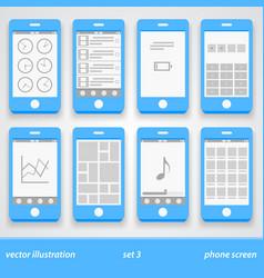 flat phone screen set 3 vector image vector image