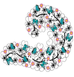 flourishes with flowers and butterflies vector image vector image