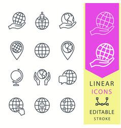 globe - line icon set editable stroke vector image