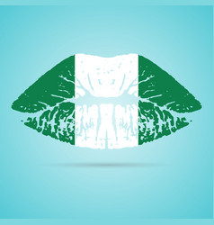 nigeria flag lipstick on the lips isolated on a vector image