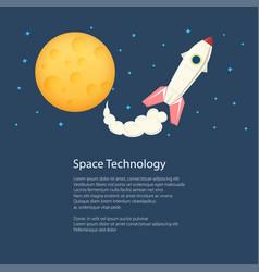 rocket with moon poster brochure vector image