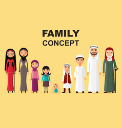 saudi family muslim arabic family isolated vector image