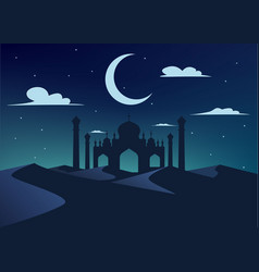 silhouette of mosque in night desert vector image