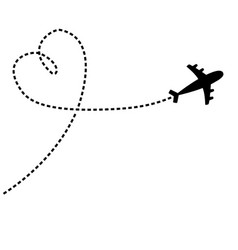 Airplane flying dash line heart loop in sky vector