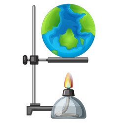 An earth on the alcohol burner vector