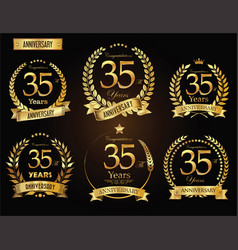 anniversary golden laurel wreath 35 years vector image
