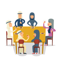Arab family group friends eat meal characters vector