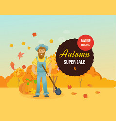 Autumn super sale farmer farmland village with vector
