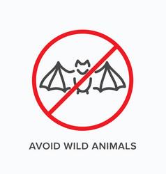 Avoid wild animals line icon outline vector