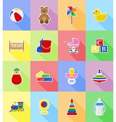 baby flat icons 18 vector image