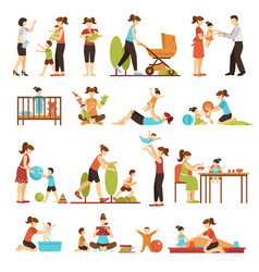 babysitter flat set of decorative colored icons vector image