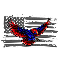 bald eagle attacking with flag usa on the vector image