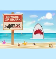 beware shark sign on sea sand beach vector image