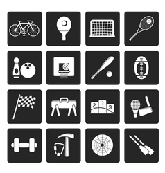 Black simple sports gear and tools icons vector