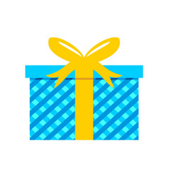Blue striped gift box vector
