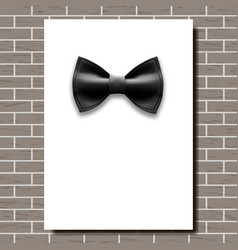 bow tie poster empty white a4 black bow vector image