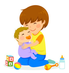 Boy and baby vector