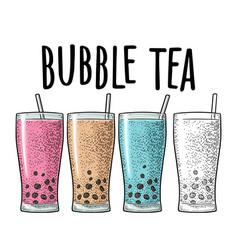 Bubble milk tea with tapioca pearl ball in glass vector