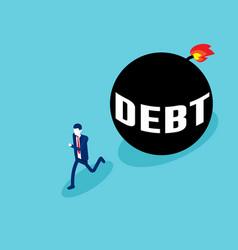 Businessman run away from debt business debt ball vector
