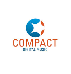c letter icon for digital music vector image