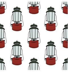 camp lantern seamless pattern vector image