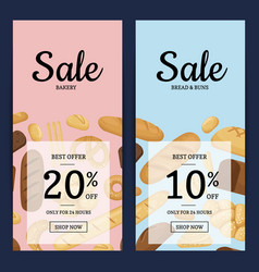 cartoon bakery elements web banner vector image