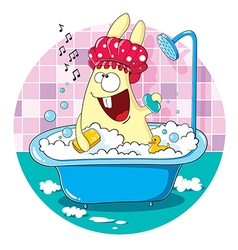 Cartoon bunny taking a bath vector