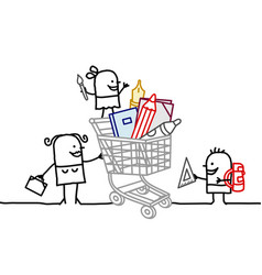 cartoon characters -shopping cart and school vector image