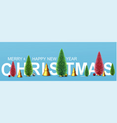 christmas banner with new years decorative green vector image