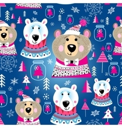 Christmas pattern with portraits of bears vector
