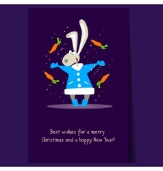 Christmas Rabbit and Falling Carrots Flat vector