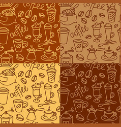 coffee seamless patterns vector image