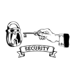 Concept of security - hand with key opens closes vector