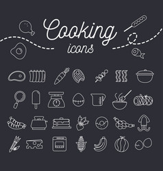 Cooking icon set with dessert fruit and equipment vector