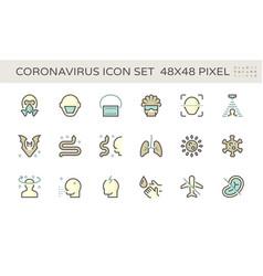 coronavirus and illness icon set design 48x48 vector image