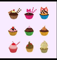 cupcakes cartoon set vector image