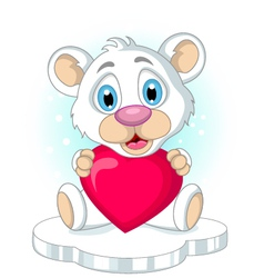 cute little polar bear cartoon holding heart love vector image