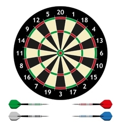 Dart board with darts vector
