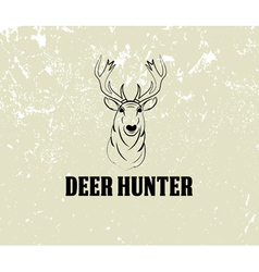 deer head on grunge background vector image
