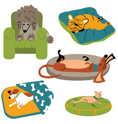 Dogs sleeping on the beds vector