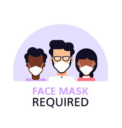 face mask required flat style banner design vector image