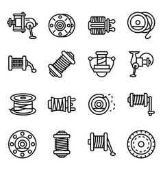fishing reel icons set outline style vector image