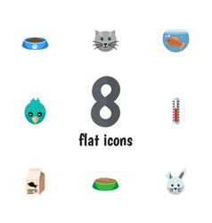 flat icon animal set of fishbowl temperature vector image