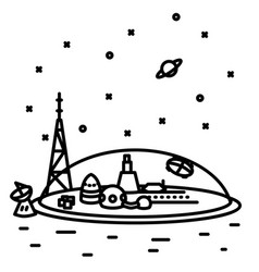 Flat thin line space colony vector